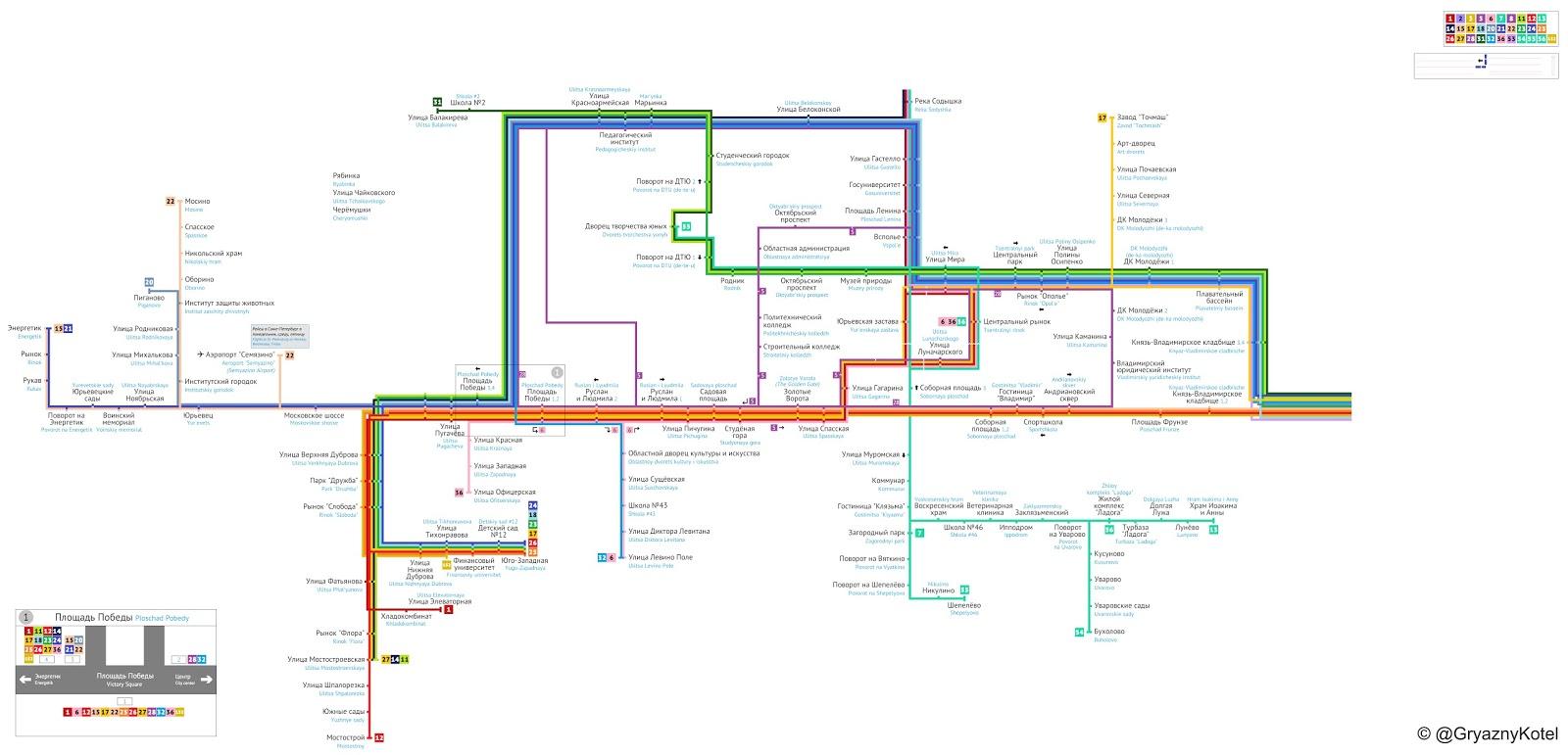 Маршруты автобусов во владимире схема